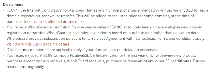 namecheap disclaimer