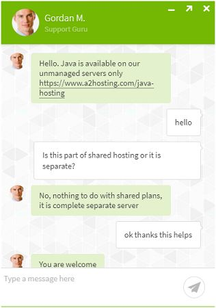 a2-chat voor java-hosting
