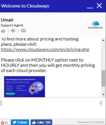 cloudways chat 2 para sa pag-host sa wiki