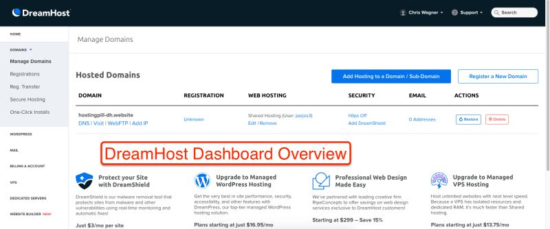 DreamHost Dashboard Oversikt