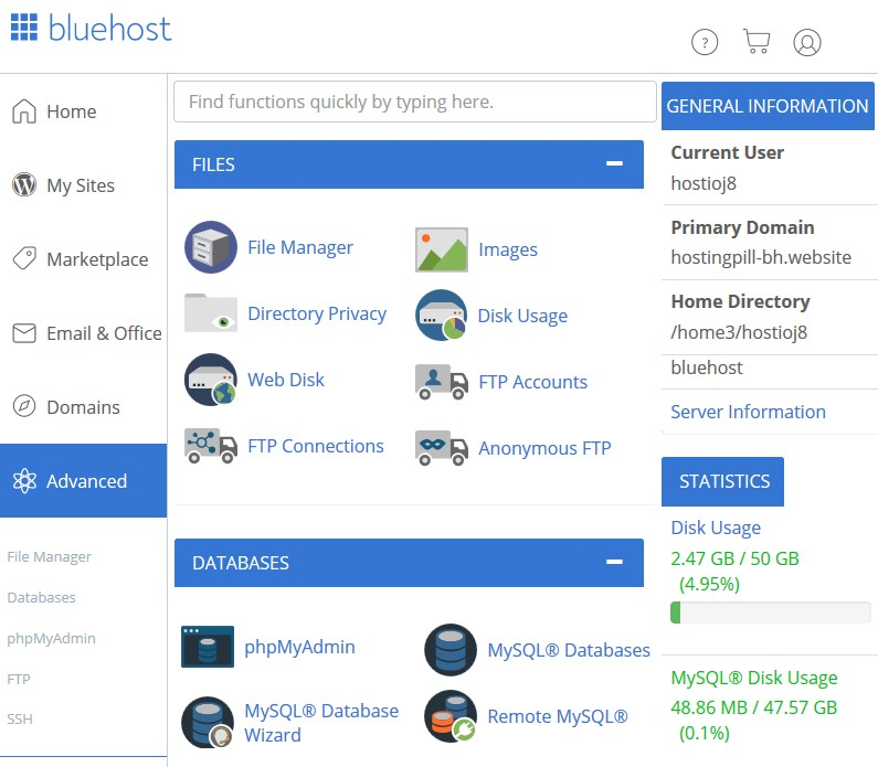 Bluehost-cpanel